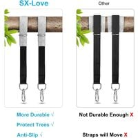 Tree Swing Straps Hanging Kit, 200cm Tree Straps with 2 Tree Protectors Pads + 2 Carabiners + 1 Carrying Bag, Holds 1000KG, Ideal for Swings and Hammocks