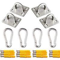 Premium Hammock Hooks Heavy Duty Yoga Hanging Kit - All Stainless Steel Pad Eyes Ceiling Hanger, Snap Hook Carabiners and Screws Accessories