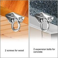 Stainless Steel Ceiling Hook Swing Hook Ceiling Mount up to 450kg Capacity,for Concrete and Wood,Hanging Chair,Swing,Hammock,Punching Bag,Sling Trainer,Yoga Towel,Awning,Sling trainer (B)