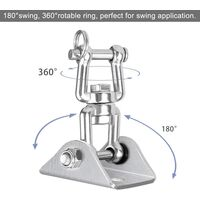 Hammock Mount Stainless Steel Swing Hangers, Heavy Duty 360°Swivel Hammock Hooks 1000LB Capacity for Concrete, Wooden, Hanging Chair, Punching Bag, Sling Trainer, Yoga Towel, Awning