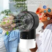 Portable Air Conditioner - Con 3 Air Cooler Mobile Air Conditioner with TIMER 2 / 4H, for Home / Office (Black)