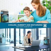 Portable Air Cooler,Personal Air Conditioner Fan Mini Quiet Evaporative with AC adapter,Humidifier Misting Fan, 1/2/3 H Timer, 3 Speeds,60°Adjustment for Office, Home, Room,Dorm,Outdoor- Black