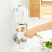 BetterLife Hair Dryer High End Seamless Without Hole Wall Wall Tube Bathroom Toiletry Storage Hair Dryer Cat Claw White