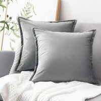 Set of 2 velvet decorative cushion covers - 45 x 45 cm - for sofa, bedroom, car, navy blue