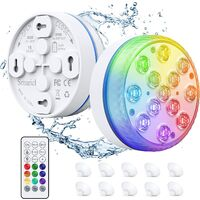 Hot Tub Lights, Submersible LED Lights with RF Remote, IP68 Waterproof Underwater Pool Light with 13 LED Beads, 16 Colors Bath Spa Lights with Magnets & Suction Cups for Pool, Party (2Pcs)