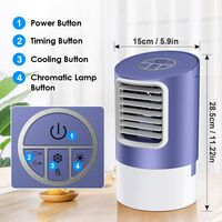 Portable Air Cooler Fan, 3 in 1- Desk Fan & Humidifier & Personal Evaporative Air Cooler, 7 Colors LED Light and 2/4 H Timer, 3 Wind Speeds for Office, Home, Dorm