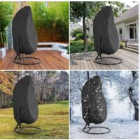 Patio Hanging Hanging Egg Chair Cover Swing Egg Chair Cover Egg Chair Cover Outdoor Rattan Wicker Swing Chair Waterproof Anti-dust Garden Furniture Cover with Zipper, 190x115cm( Black)