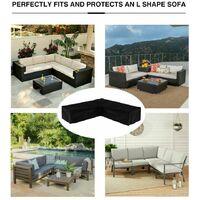 L-Shape Furniture Cover Waterproof, 420D Heavy Duty Oxford Fabric Outdoor Rattan Corner Sofa Cover (192*260cm)