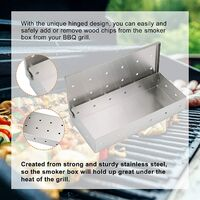 BBQ Smoker Box Barbecue Meat Smoking Stainless Steel Wood Chips Box for Gas and Charcoal Grill,