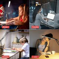 LED desk lamp, 10W folding architect table lamp with clamp, metal swivel arm, attenuation and adjustable color temperature (black)