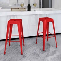 Bar Stools 2 pcs Red Steel9411-Serial number