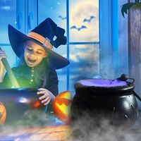 Halloween Black Cauldron with LED Halloween Decorations Witch Jar Atomizer American Standard, European Standard and British Standard Pendant Party Decoration Mini Candy Cauldron well-suited