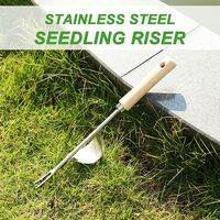 Manual stainless steel weeder, 2piece Hand weeder garden Y-shaped tee-shaped extractor with wooden handle, for weedage transplantation planting fork tool gardening