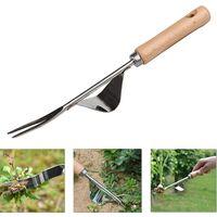Manual weeder tool weeding gouge stainless steel with wood handle