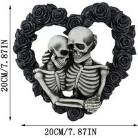 Halloween Skull Couple Wreath, Black Rose Pendant Decoration House Number, Suitable for Front Door Decor Wreath, Home Wall Decor (Size : One size)