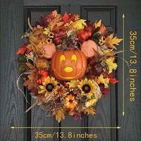 Mickey Pumpkin Wreath Decor, Fall Pumpkin Door Wreath, Fall Halloween Wreaths for Front Door, Disney Halloween Decorations Clearance, Halloween Garland Outdoor Decor