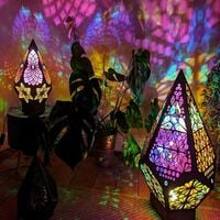 Large Fleece Star Floor, Bohemian Floor Decorative Lamp, Colorful 3D LED 3D Projection Lamp, Diamond Retro Lamp, Suitable for Home, Party, Christmas, Decorative LED Nightby