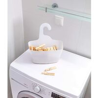 White plastic shower panning to hang, 2 storage baskets for the house with hook, installation without drilling and tools