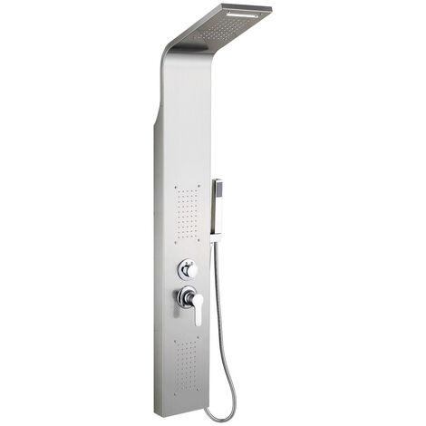 LED Colonne de douche en acier inoxydable avec Jets de Massage Tête de Douche en Pluie et en Cascade 140*20*7cm - Argent
