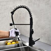 Robinet de cuisine avec douchette extractible, évier chromé en laiton à levier - Noir