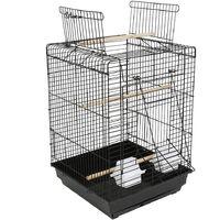 YONGQING®Cage à Oiseaux avec Corde de Jouet 40 x 40 x 58 cm Cage pour Perruche Canari Calopsitte Ouverture Supérieure - Noir