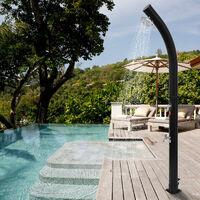 Douche solaire 217 cm Douche Jardin Pommeau Effet Pluie Réservoir 18L Socle Usage Extérieur Piscine - Noir