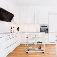 Chariot de service desserte à roulettes multi-rangements tiroirs étagères range bouteilles bois de cuisine à roulettes - Blanc