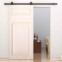 YONGQING®Ferrure de porte coulissante Système de porte coulissante Verre coulissant / porte en bois 200CM - Noir