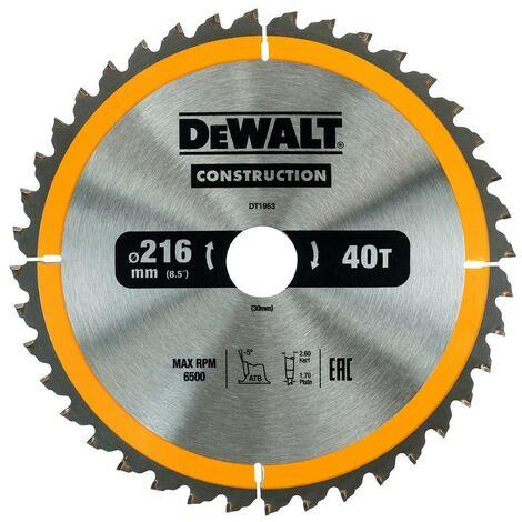 DEWALT DT1953-QZ - stationarylame de scie circulaire 216x30mm 40D ATB -5 °