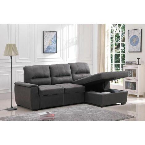 Sofá-cama matrimonial chaise-longue con arcón de gran capacidad de almacenaje new farrar derecho vista de frente, 4 plazas asiento