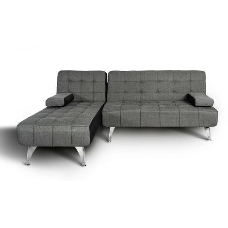Sofa-cama chaise longue reversible sin anclaje aroa xs gris oscuro/negro tela facil limpieza, 3 plazas, gran variedad de colores