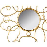 Espejo redondo metal dorado mate. Estilo contemporaneo. Recibidor, habitacion o salon.80X80X3 cm.