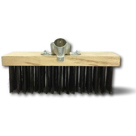Balai cantonnier métallique | Garnissage acier rond noir | Semelle bois - Quantité x 1 - Acier rond noir - Sans manche