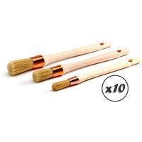Pinceau de pouce - Brosse ronde soie blanche - Peinture rénovation volets moulure plinthe angle persienne - Quantité x10 - Lot 3 pinceaux
