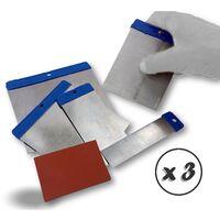 Kit couteaux de carrossier | Cale caoutchouc à poncer - Quantité x 3 - Kit 5 couteaux