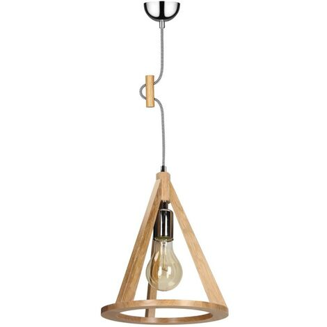 Paris Prix - Lampe Suspension Bois konan I 100cm Chêne Et Noir