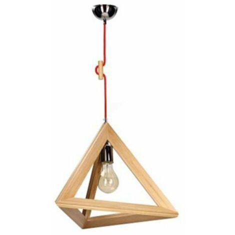 Paris Prix - Lampe Suspension Bois trigonon I 100cm Chêne & Rouge
