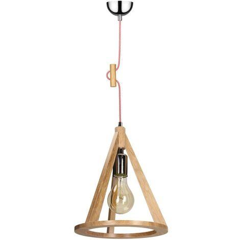 Paris Prix - Lampe Suspension Bois konan I 100cm Chêne Et Rouge
