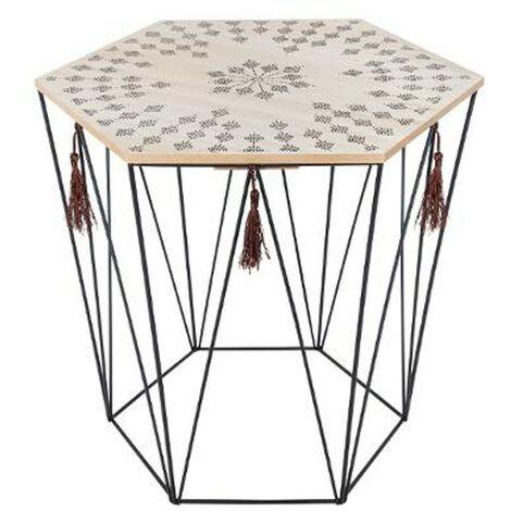 Table à Café Octogonale en Métal Etnik 40cm Noir