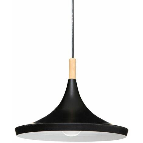 Lampe Suspension Métal & Bois Deb 32cm Noir