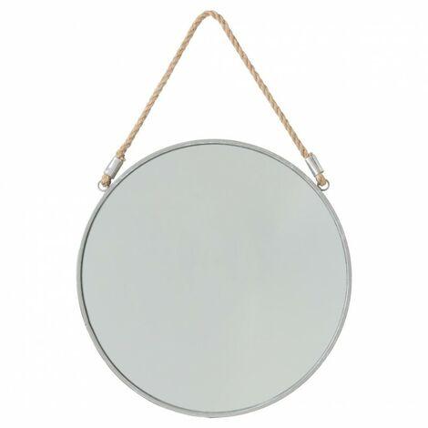 Miroir à Suspendre en Métal Rond 37cm Gris