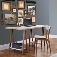 Paris Prix - Bureau Design highbury 160cm Chêne & Blanc