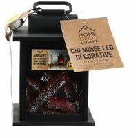 Paris Prix - Décoration Lumineuse Led cheminée 18cm Noir