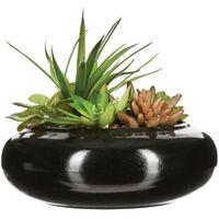 Composition Florale & Vase en Céramique 20cm Noir
