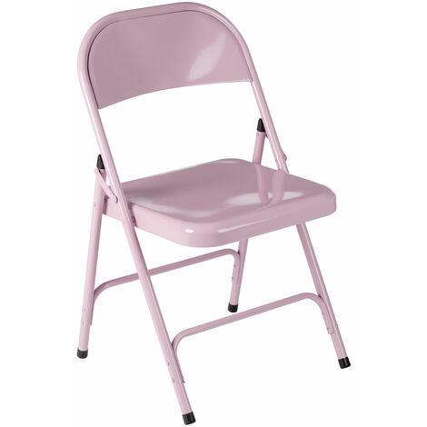 Premier Housewares Pink Powder Coated Folding Metal Chair