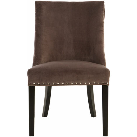 Premier Housewares Dining Chair / Velvet Bedroom Chairs Stud Detail Chairs For Living Room / Bedroom Grey Chair Rubberwood Legs / Living Room Chairs 95 x 57 x 67