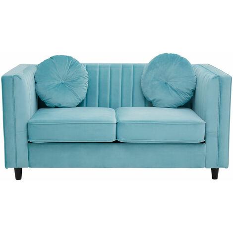 Premier Housewares Corner Sofa Contemporary Vibrant Sofas For Living Room / Pleat Detail Wooden Feet 2 Seater Sofa / Midnight Velvet Sofa With Cushions 64 x 145 x 65