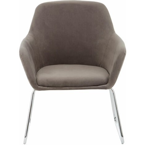 Premier Housewares Accent Chair Chair for Bedroom Crushed Velvet Chair Grey Upholstery Lounge Chair Arm Chairs Chromed Metal Legs Makeup Chair 67x64 x85