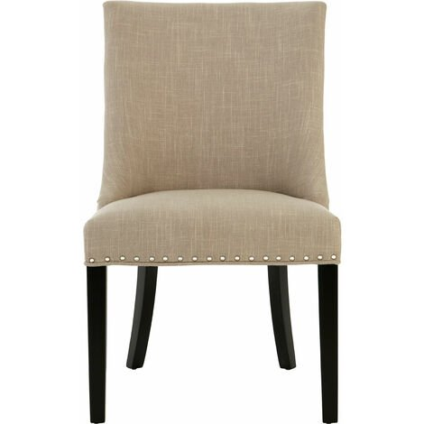 Premier Housewares Dining Chair Linen Bedroom Chairs / Stud Detail Chairs For Living Room / Bedroom Chair With Rubberwood Legs / Living Room Chairs 95 x 57 x 67