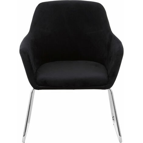 Premier Housewares Accent Chair Chair for Bedroom Crushed Velvet Chair Black Upholstery Lounge Chair Arm Chairs Chromed Metal Legs Makeup Chair 67x64 x85